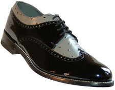 Stacy Baldwin Wingtip Oxford Black and Grey Patent Leather Tuxedo Shoes
