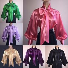 SHINY New LIQUID SATIN Long Sl BOW BLOUSE Top vtg HIGH NECK Shirt S M L 1X 2X 3X