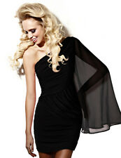 Asymmetric Pleat Drape Sexy Cocktail Party Evening One Sleeve Ruched Short Dress