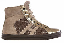 HOGAN SCARPE SNEAKERS ALTE DONNA IN CAMOSCIO NUOVE REBEL R141 BEIGE SHOES WO D90