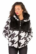 Hidden Fashion Womens Ladies Dog Tooth Faux Fur Hooded Quilted Coat