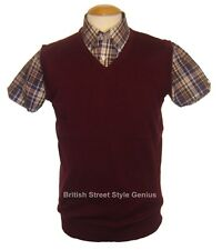 Relco Tank Top - Burgundy - Classic 60s 70s Mod Skinhead Northern Soul Indie