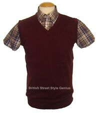 Relco Tank Top - Burgundy -Classic 60s 70s Mod Skinhead Northern Soul Indie