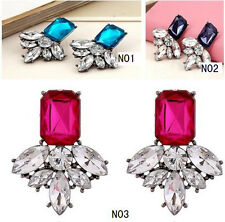 Hot New Charm Colors Clearly Crystal Rhinestone Dangle Stud Earrings Women Gift