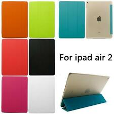 New Slim PU Leather + Clear Hard Plastic Flip Stand Cover Case For iPad Air 2