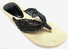 Black Braided Strap EVA  Wedge Thongs Flip Flops Sandals Size 6 -11 NEW