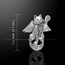 Superbly crafted Magickal Cat Sterling Silver Pendant - with gemstone