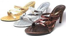 Party Shoes High Heels Sandals Mirrored Strappy Silver Gold Bronze Size 6-11 NWB