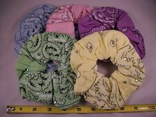 2 Paisley Print Hair Scrunchies Twisters Pony Tail Holder / 5 Colors