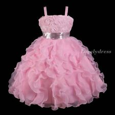 NEW Flower Girl Wedding Pageant Party Bridesmaid Dress Wears Pink SZ 5-10 Q251