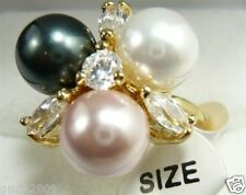 8mm Black White Pink South Sea Shell Pearl Crystal GP Wedding Ring Size 7/8/9