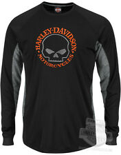 Harley-Davidson Mens COOLBASE Willie G Skull Synthetic Black Long Sleeve T-Shirt