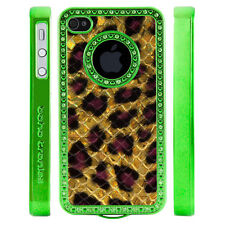 Gem Crystal Rhinestone Gold Purple Leopard Print Scale Case For Apple iPhone 5
