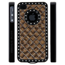 Apple iPhone 5 5S Gem Crystal Rhinestone Brown Silver Black Weave case