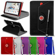 "360° Rotating Luxury PU Leather Spring Stand Case Cover & Pen for 8"" Tablets"