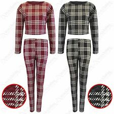 WOMENS LADIES QUILTED TARTAN CHECK PRINT CROP TOP JUMPER LEGGINGS TROUSERS SUIT