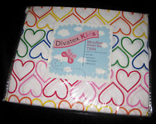 TWIN OR FULL Divatex Kids Multi-Color Hearts SHEET SET
