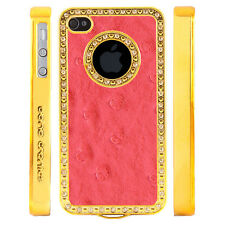 Gem Crystal Rhinestone Dark Pink Dimple Leather Case For Apple iPhone 5 5S 5G