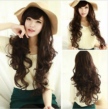 Women's Fashion Curly Wavy Full Wigs Cosplay Party Brown/Black Long Wigs New+Cap