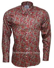 RELCO PLATINUM COLLECTION Satin Cotton Paisley Shirt Red 60s Mod Skin