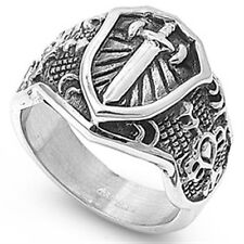 Stainless Steel Biker Ancient Shield Sword Sign Good Luck Wide Ring Size 8-15