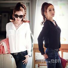 Fashion Women Office Long Sleeve Button Down Shirt Wear To Work Loose Blouse Top