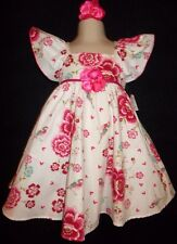 Floral twirl dress birds hearts hair clip girls 5 6 Baby Nay Bonne NWT
