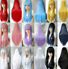 15 Candy Colors Fashion Womens Long Straight Cosplay Party Full Hair Wig Wigs