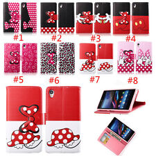 Leather Bow Wallet Stand Card Holder Flip Case Cover For Sony Xeperia Z1 Z2 Z3