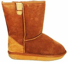 Ewe Ewe Boots Tall Women's Chestnut Lambs Wool Lined Flat Suede Ankle Boots New