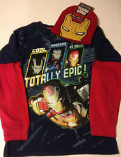 Marvel 's Aengers IRON MAN 3 T- Shirt & HAT Youth Sizes  L  XL 2XL Knit Beanie