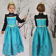 Hot Kids Girls Dress Frozen Princess Anna Cosplay Costume Fancy Dress Long Dress