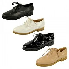 S482 - Ladies Flat Lace Up Casual Brogue Office School Shoes - UK 3 - 8