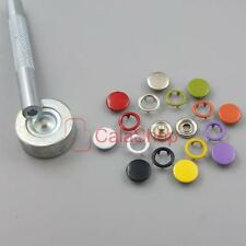 """Open Ring No Sew Snaps Fastener sattaching stud Mixed colors 3/8"""" 9mm with tool"""