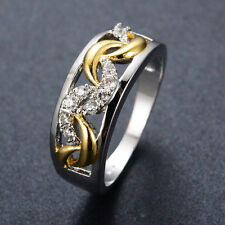 Gold Lace Zirconia Wedding Ring 10Kt White/Gold Filled Band Women/Mens Jewellery