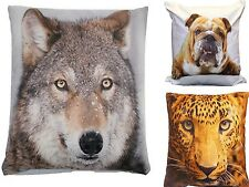 Animal Cushion Cover Square Scatter Soft Feel Leopard Bull Dog Wolf Photo Print