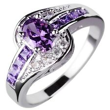 Women's Swirl Jewelry Purple Amethyst Rings 10KT White Gold Filled Sz6-10 Gifts