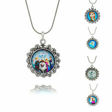 Snowman Frozen Elsa Or Olaf pendant Vintage Silver chain necklace jewelry Gift