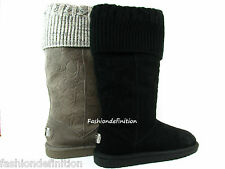 New Women Coach GEORGIA Signature Embossed Suede Winter Boots Shoe Black Grey