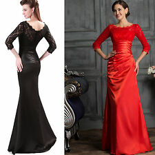 XMAS RED Sexy Mermaid Bodycon Vintage Lace Long Pageant Prom Evening Party Dress