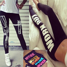 Womens WORK OUT/Gun Letters Printed Tight Cotton Leggings  Low Waist Jogging Pan