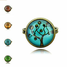 Vintage Bronze tone mix style Trees Figure Photo Glass Cabochon Rings gifts Xmas