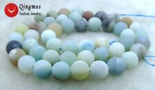 "SALE 8mm Round frost blue mix natural Amazonite loose beads string 15""-los608"