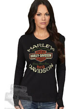 Harley-Davidson Womens Trademark B&S Black Long Sleeve Crew Neck T-Shirt