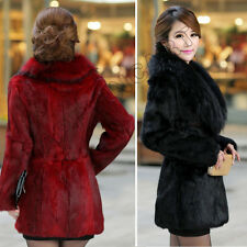Fashion Lady Long Overcoat Solid Faux Fur Jacket Outwear Slim Fit Winter Coat