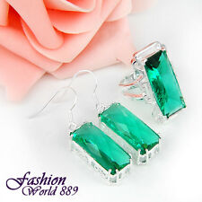 Bright Green Amethyst Prasiolite Gems Silver Earrings and Ring Set Size 7,8,9