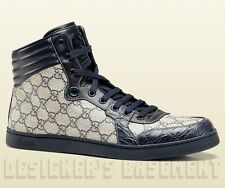 GUCCI Mens blue CODA GG Plus CROCODILE lace-up High Top Sneakers NIB Authentic!