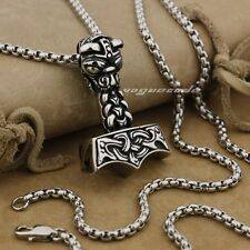316L Stainless Steel Thor's Hammer Mens Pendant Viking Norse Warrior AJ06A