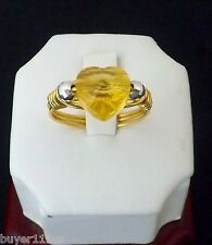 Handmade Gold Plated Sterling Silver Wire Wrapped Swarovski Crystal Heart Ring