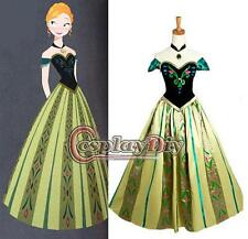 31 - S M L Frozen Princess Anna Coronation Cosplay Adult Woman Gown Dress Green